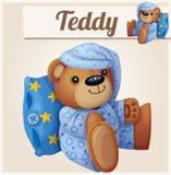 Teddybär in den Pyjamas mit Kissen stock abbildung