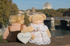 Teddybär, der auf dem Fluss liebt Lizenzfreie Stockfotos