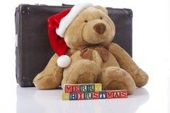 Teddybär der frohen Weihnachten Stockbild
