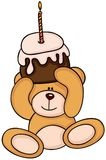 Teddybär, der Geburtstagskuchen hält lizenzfreie abbildung