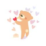 Teddybär, der Liebesbrief schreibt Stockbilder