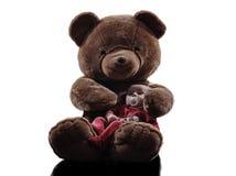 Teddybär, der sitzendes Schattenbild des Babys umarmt Stockbilder