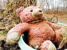 Teddybär in der Wanne stockfotografie