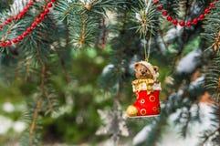 Teddybär in der Weihnachtssocke auf schneebedeckter Niederlassungstanne Lizenzfreie Stockfotos