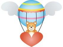Teddybär in einem Heißluftballon mit Engel beflügelt stock abbildung