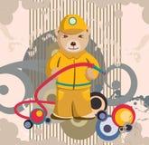 Teddybär-Feuerwehrmann-Hintergrund Stockfoto