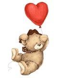 Teddybär fliegendes witn baloon Lizenzfreie Stockbilder