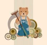 Teddybär-Gärtner-Hintergrund Stockfoto