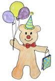Teddybär gibt ein Geschenk und Ballone Stockbilder