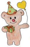 Teddybär gibt ein Geschenk und Ballone Stockbild