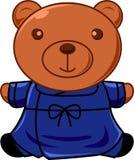 Teddybär im blauen Kleid Lizenzfreies Stockfoto