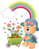 Teddybär im Garten Stockfoto