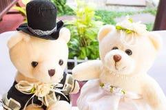 Teddybär im Hochzeitstag stockfotos