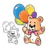 Teddybär mit Ballonen lizenzfreie abbildung