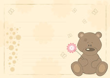 Teddybär mit Blume (Postkarte), illustra Lizenzfreies Stockfoto