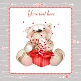 Teddybär mit einem Kasten hearts3 Lizenzfreies Stockbild