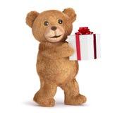 Teddybär mit einer Geschenkbox Stockfoto