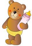 Teddybär mit einer Schätzchenflasche Stockfotografie