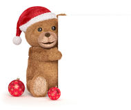 Teddybär mit einer Weihnachtsplatte Stockbilder
