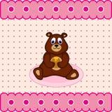 Teddybär mit Fasshonig Stockfotografie