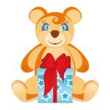 Teddybär mit Geschenkkasten Lizenzfreie Stockfotos