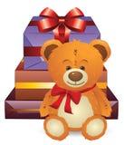 Teddybär mit Geschenkkasten Stockfotografie