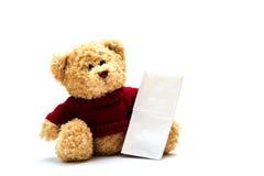 Teddybär mit Gewebe Lizenzfreie Stockfotos