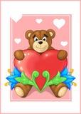 Teddybär mit Herzen Lizenzfreies Stockfoto