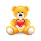 Teddybär mit Herzvektorillustration Stockfotografie