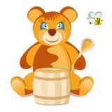 Teddybär mit Honig Lizenzfreies Stockbild