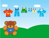 Teddybär mit Kleidung 2 Stockfotografie