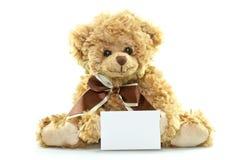 Teddybär mit Leerbeleg Lizenzfreies Stockbild