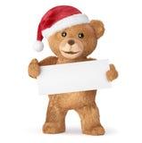 Teddybär mit leerer Karte Stockbilder