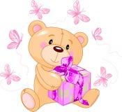 Teddybär mit rosafarbenem Geschenk Lizenzfreie Stockbilder