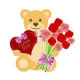 Teddybär mit Rosen-Blumenstrauß und Inner-Kasten Stockfotografie