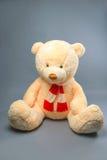 Teddybär mit rotem Schal auf grauem Hintergrund Lizenzfreie Stockfotos