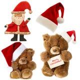 Teddybär mit Sankt-Hut Ökologische, hölzerne Weihnachtsdekorationen Stockbild