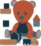 Teddybär mit Spielzeug, Ball, metrischer Karte der Babymitteilung graue und blaue Farbe Kindertagesstättendekor lizenzfreie abbildung