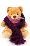 Teddybär mit Thermometer Stockbilder
