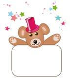 Teddybär mit unbelegtem Zeichen Lizenzfreie Stockfotografie