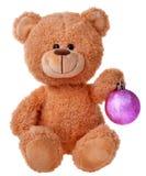 Teddybär mit Weihnachtsball Stockbilder