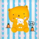 Teddybär nett mit Häschenpuppe Stockbilder