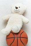 Teddybär und Basketball Lizenzfreies Stockfoto