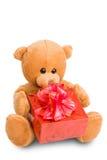 Teddybär und Geschenk Stockbilder