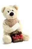 Teddybär und Innere mit Ihrer Meldung Stockbild