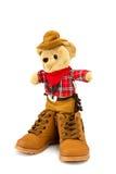 Teddybär- und Stiefelschuhe auf einem weißen Hintergrund Lizenzfreies Stockbild
