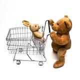 Teddybär und Wagen Stockfotos