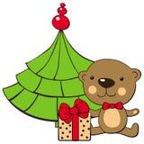 Teddybär- und Weihnachtsbaum stock abbildung