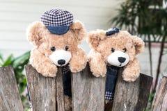 Teddybären, die am Zaun hängen Stockbilder