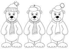 Teddybären im Winterkostüm, Konturen Stockfotos